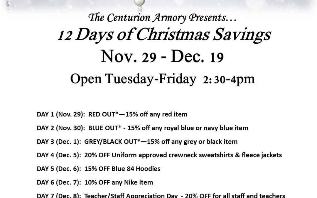 12 Days of Christmas Savings at the Centurion Armory
