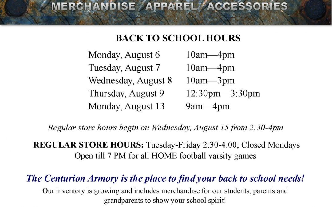 The Centurion Armory is the place to find your back-to-school needs!