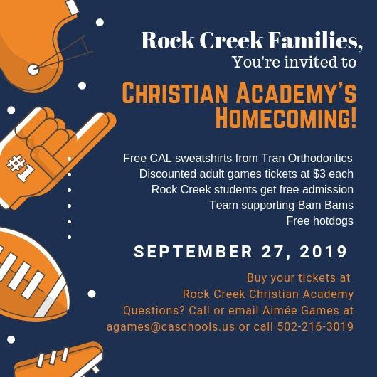 You're Invited to Christian Academy of Louisville's Homecoming, September 27