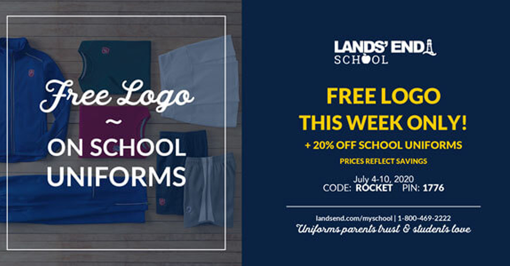 Free Logo + 20% Off at Lands' End – July 4-10