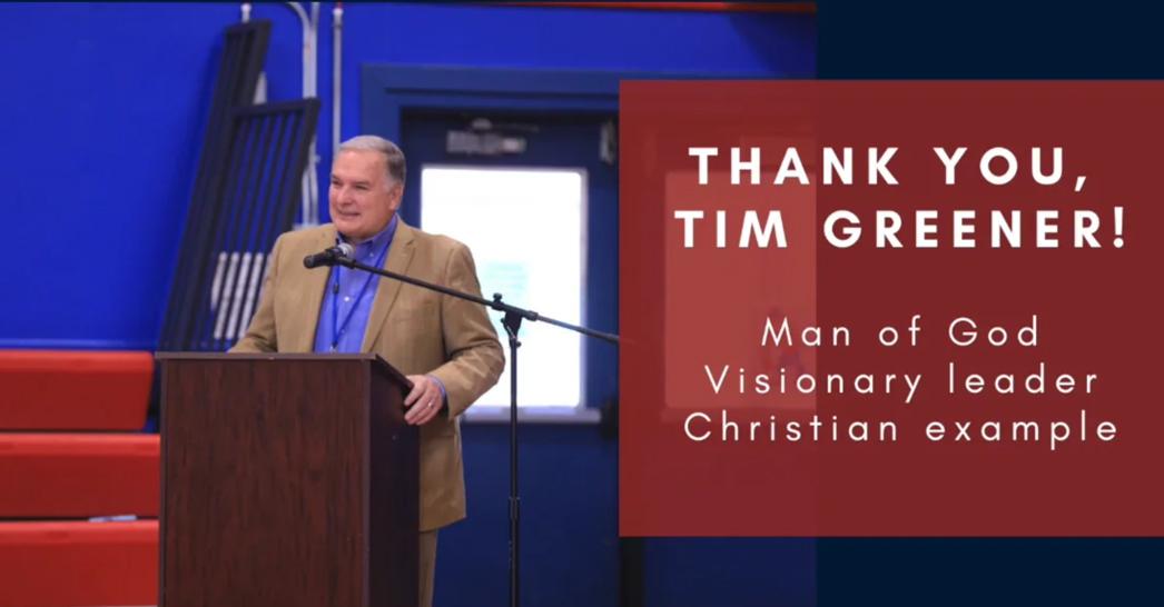 Grateful for Mr. Tim Greener, Superintendent
