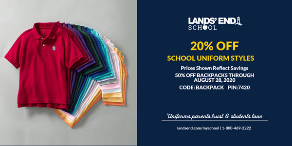 Christian Academy School System | Lands' End | 20% OFF School Uniforms | 50% OFF Backpacks | through August 28