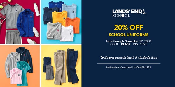 20% OFF Lands' End School Uniforms through November 27