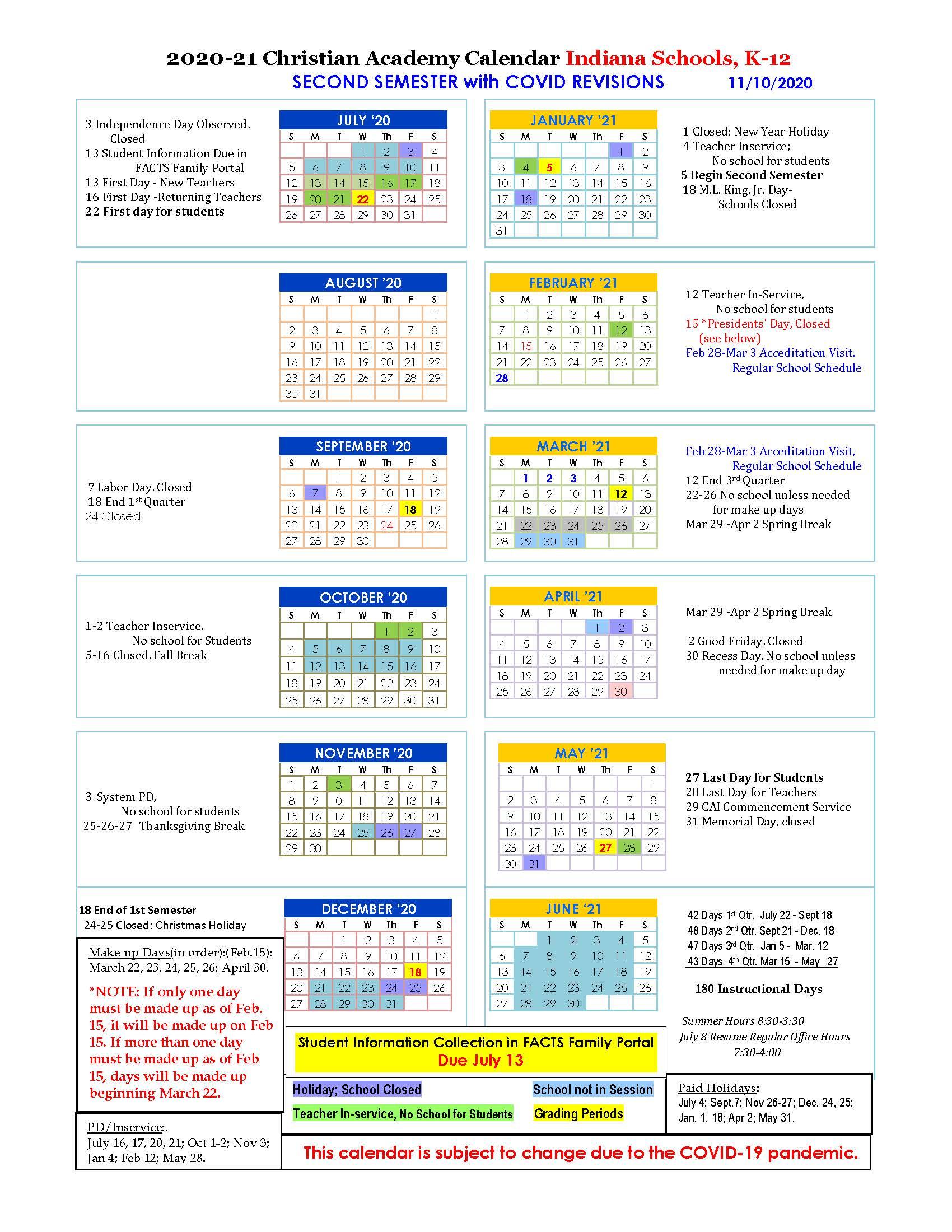 Christian Academy School System | Christian Academy of Indiana | 2020-2021 Second Semester Family Calendar