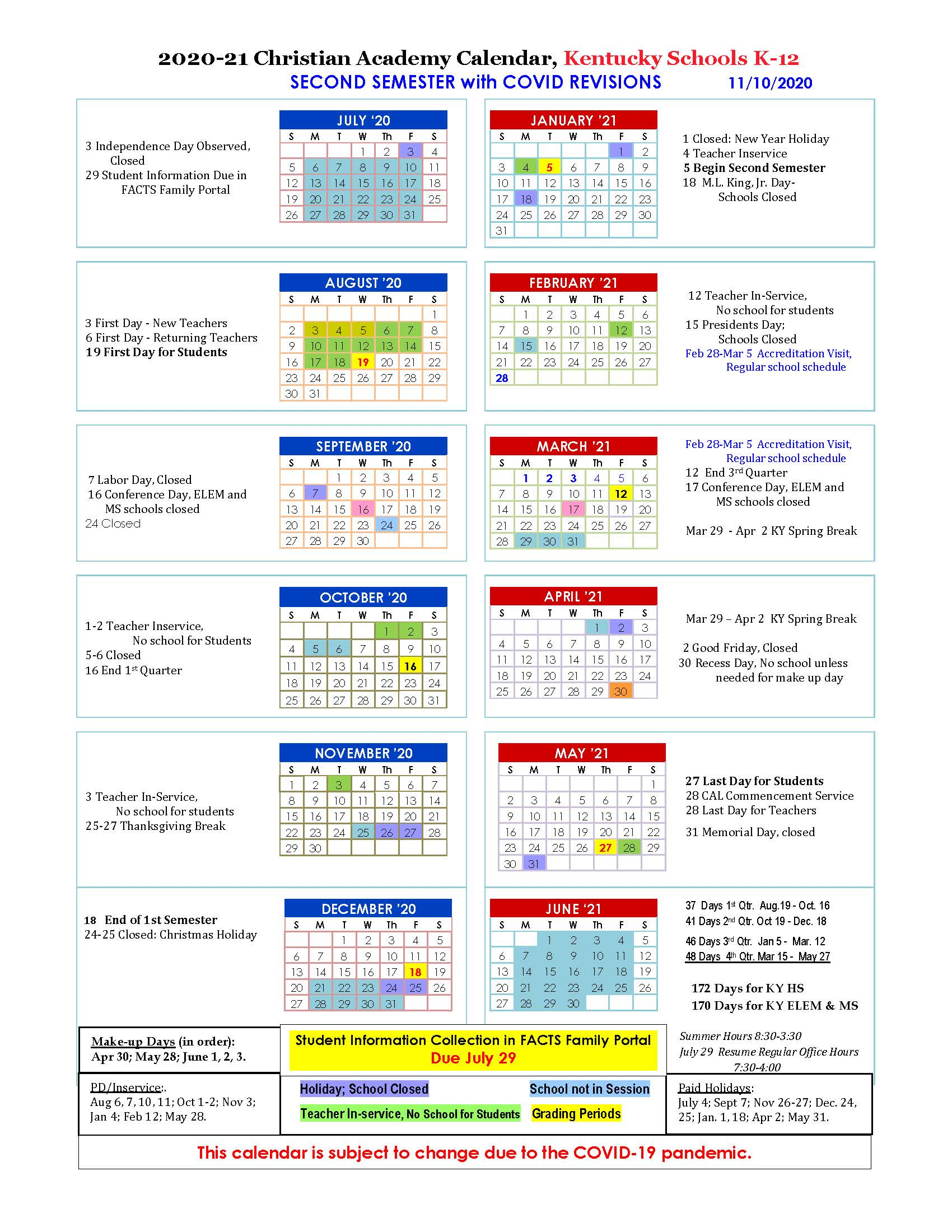 Christian Academy School System | 2020-2021 CAL Second Semester Family Calendar