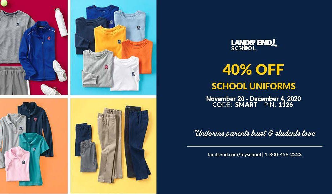 40% OFF Lands' End School Uniforms, November 20 – December 4