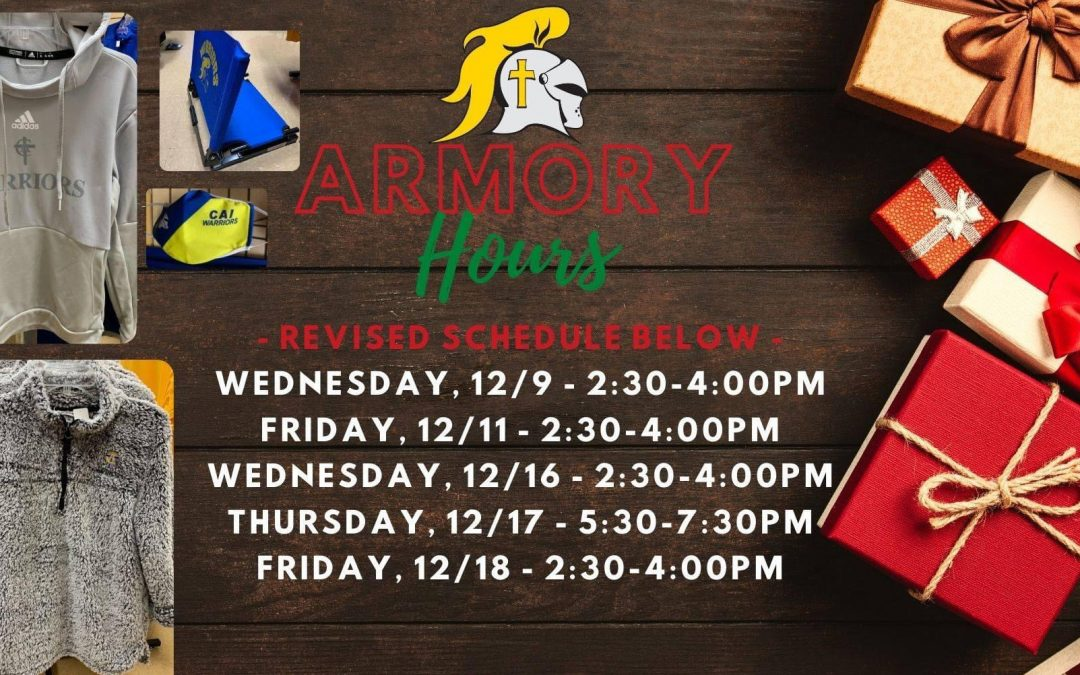 2020 Christian Academy of Indiana Athletics Armory Holiday Hours
