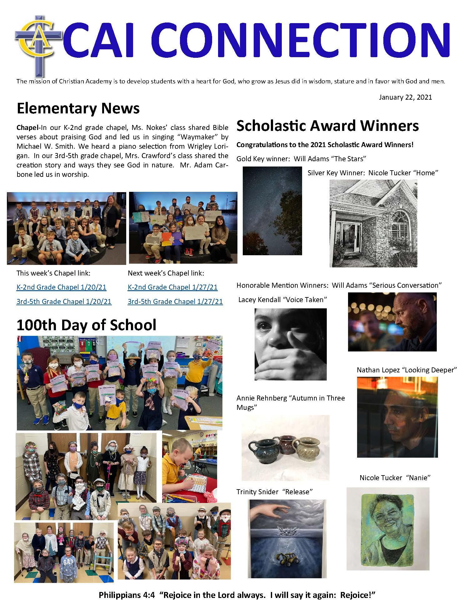 Christian Academy School System   Christian Academy of Indiana   CAI Connection   January 15, 2021