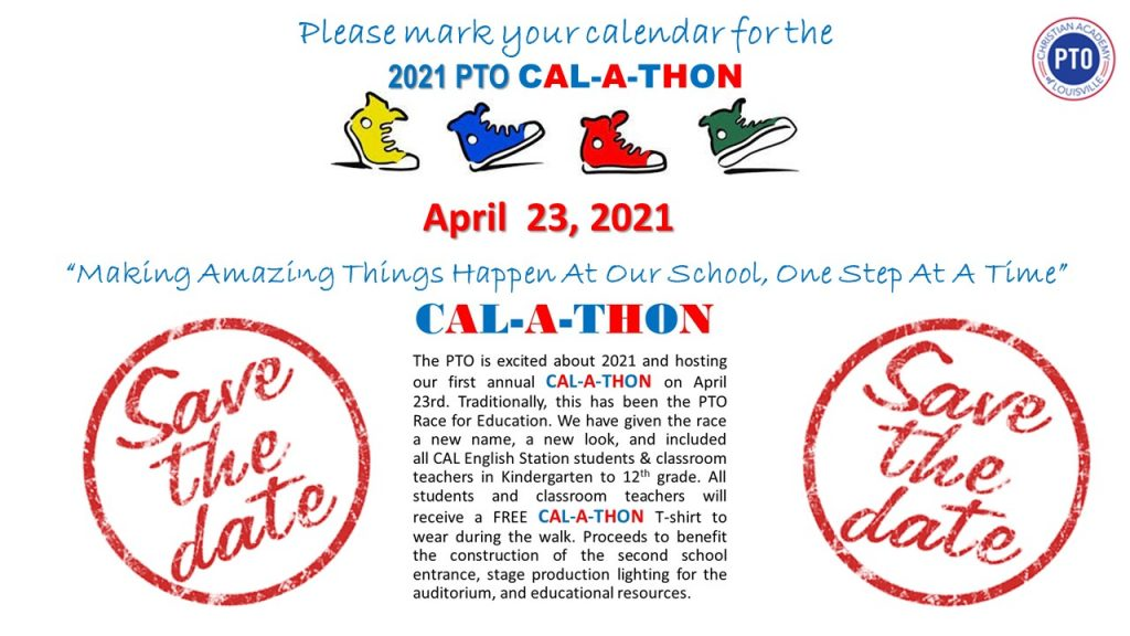 Christian Academy School System | Christian Academy of Louisville | English Station Campus | PTO CAL-A-THON | April 23