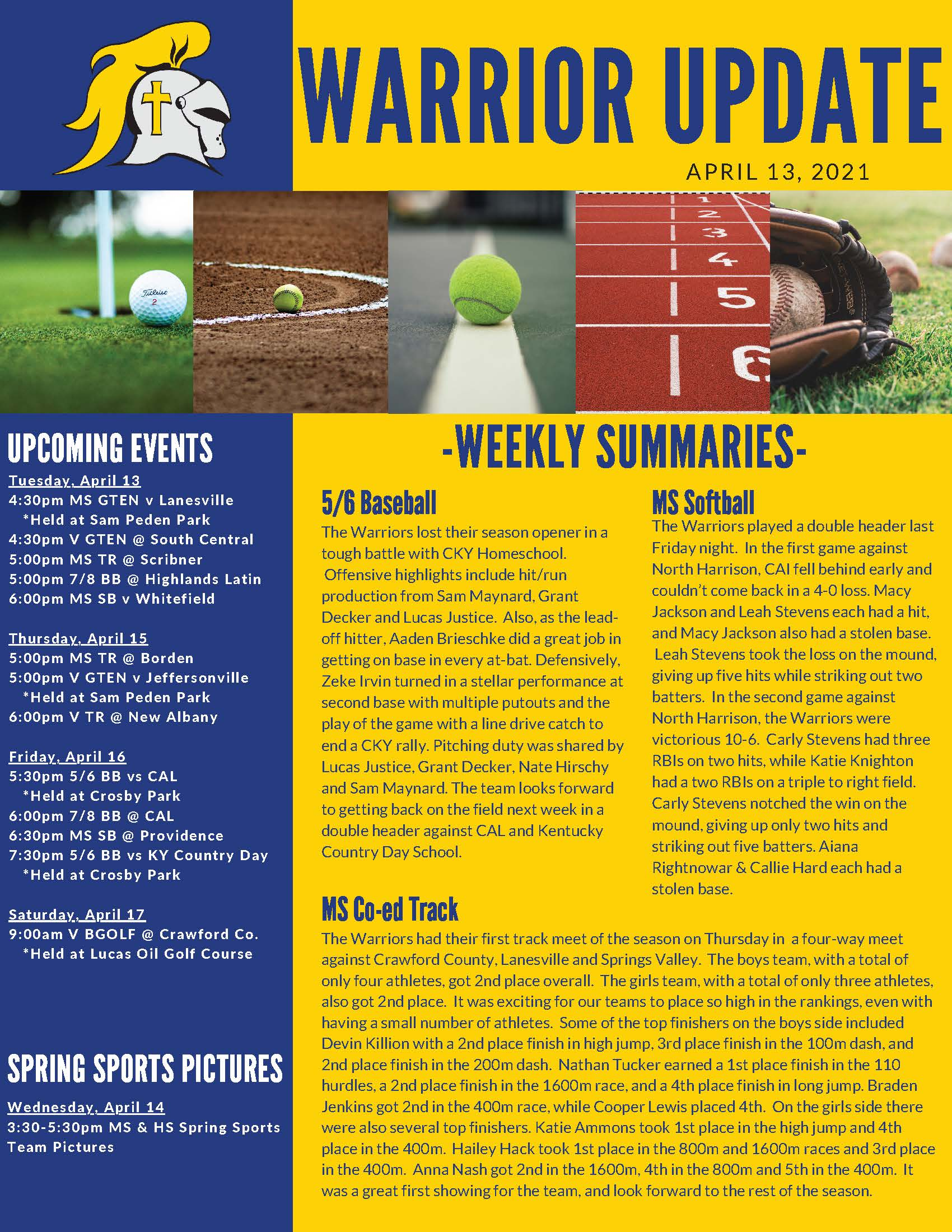 Christian Academy School System | Christian Academy of Indiana | Athletics | Warrior Update | April 13, 2021