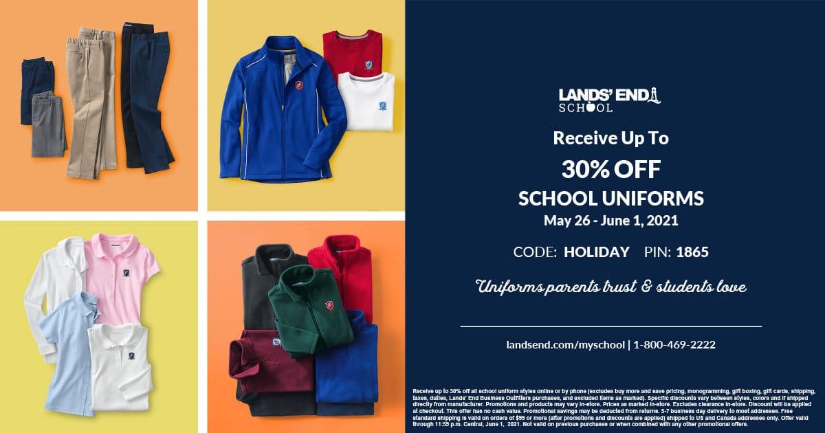 Christian Academy School System | Lands' End School Uniforms Sale | May 26 - June 1