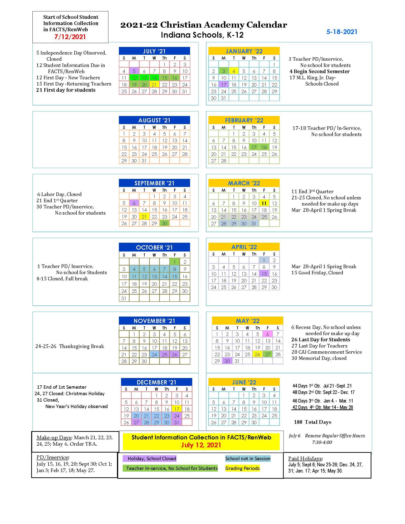 Christian Academy School System | Christian Academy of Indiana | 2021-2022 Family Calendar