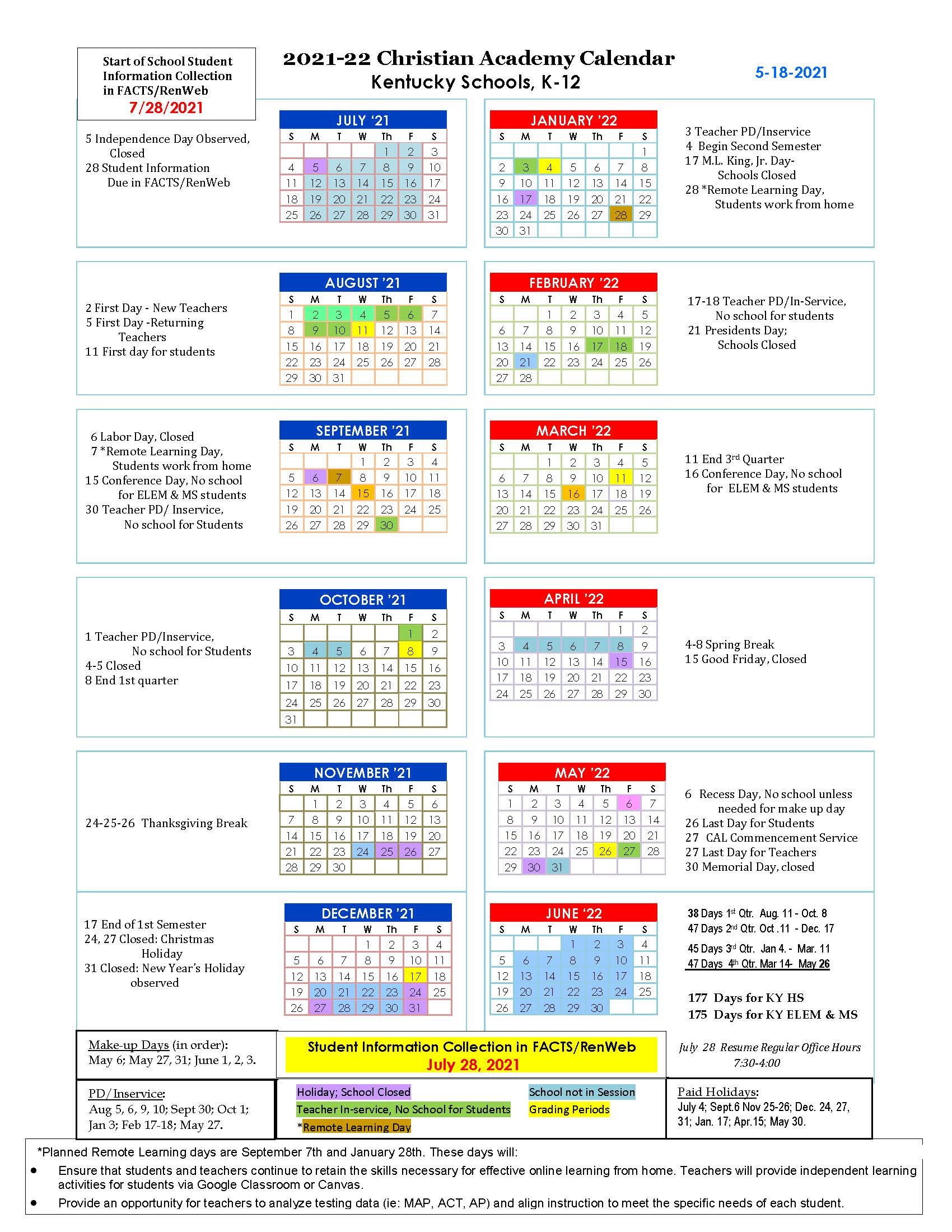 Christian Academy School System | Christian Academy of Louisville | 2021-2022 CAL Family Calendar