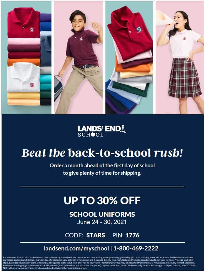 Christian Academy School System | Lands' End | Beat the Back-to-School Rush Sale | June 24-30