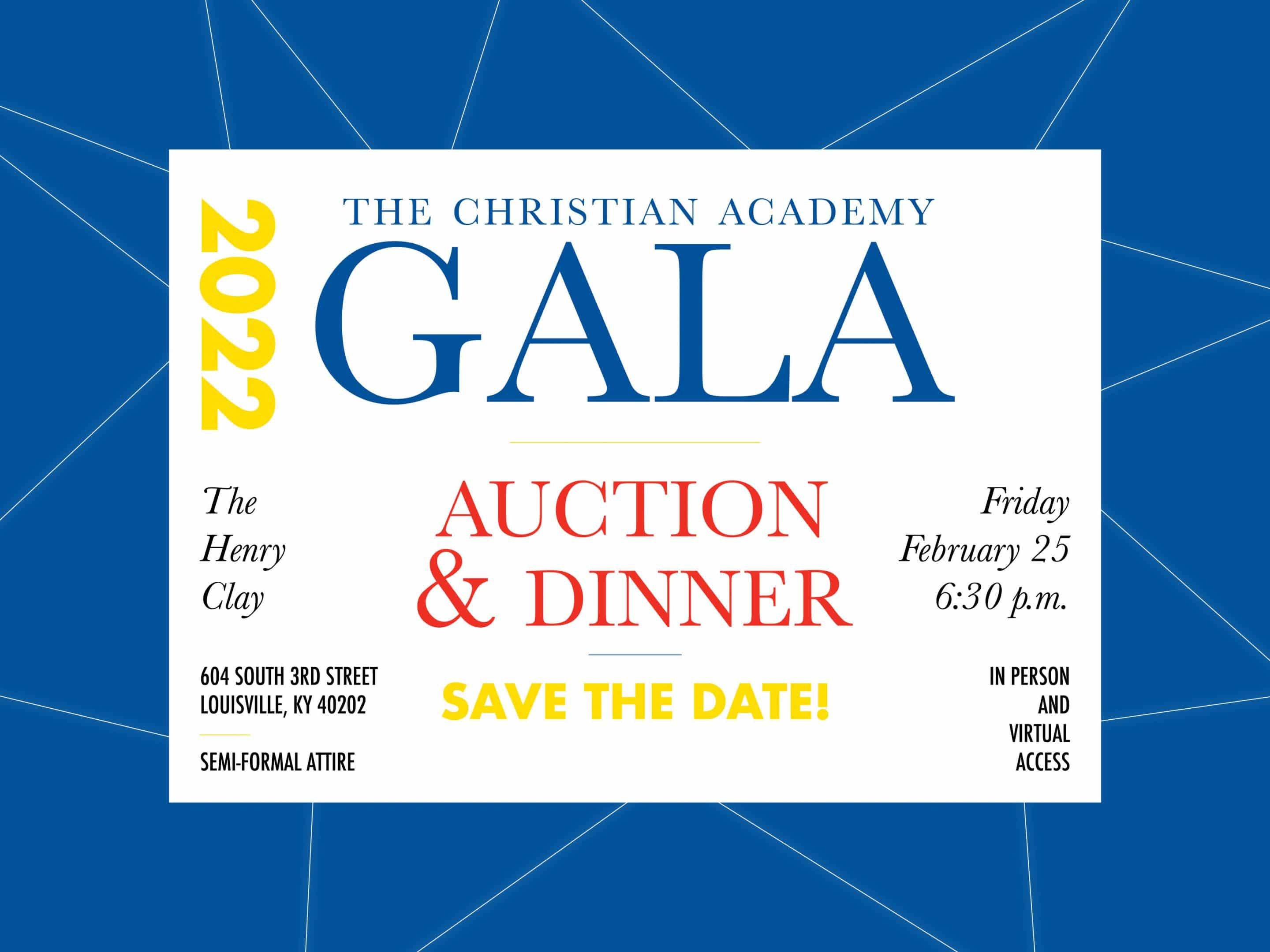 Christian Academy School System | Gala | 2022 Save the Date | February 25