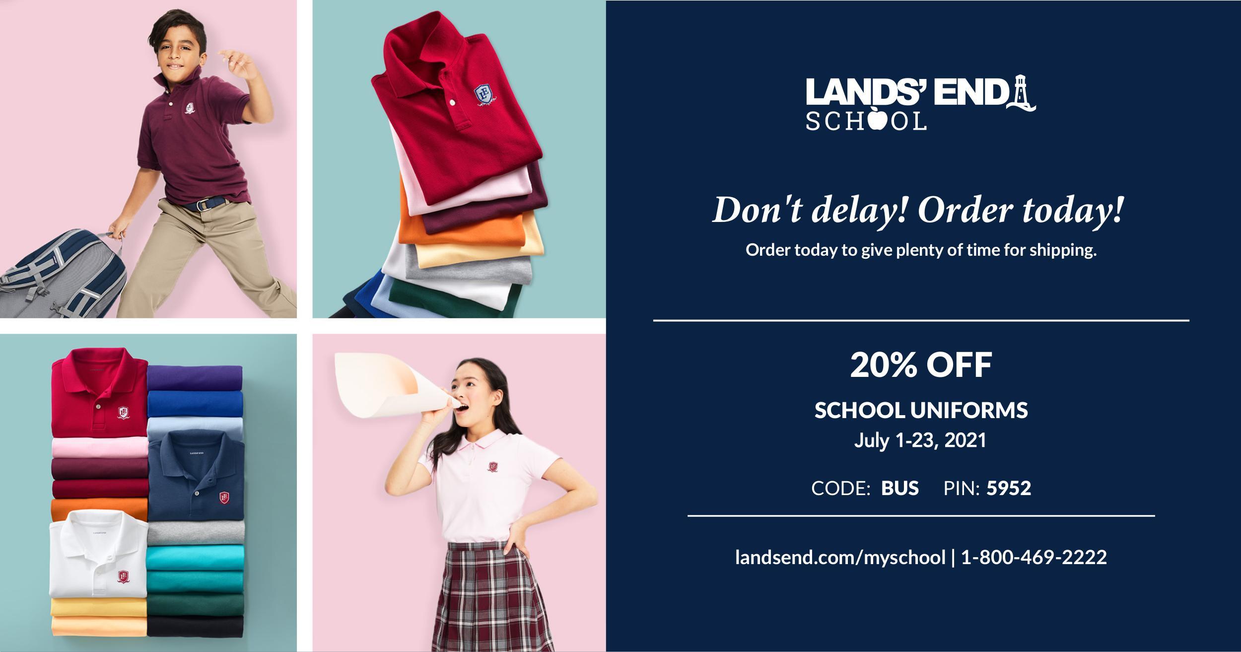 Christian Academy School System   Lands' End Sale   July 1-23, 2021