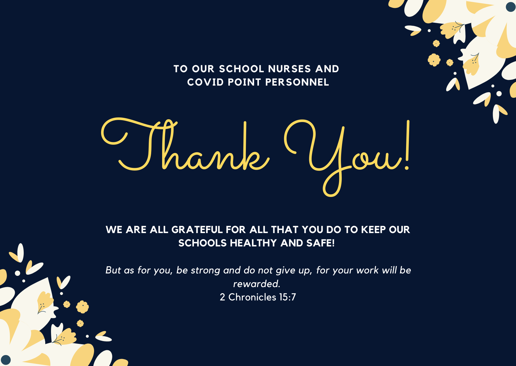 Christian Academy School System | To Our Nurses and COVID Point Personnel | Thank You
