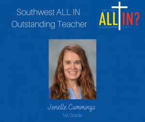 Christian Academy School System | Christian Academy of Louisville | Southwest Campus | 2021-2022 ALL IN! Annual Fund Outstanding Teacher
