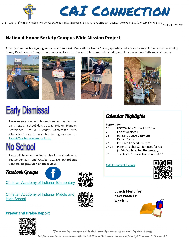 Christian Academy School System | Christian Academy of Indiana | CAI Connection | September 17, 2021